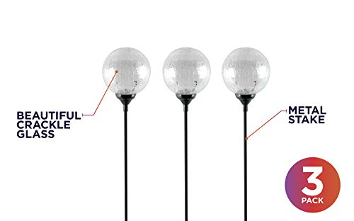 Moonrays 91251 LED Solar Path Lights In Glass Ball Design With Color Changing Feature, Weatherproof, 100,000 Hours of Use, Energy Saving, Solar Powered, Durable Crystal Glass, 3-pc Pack