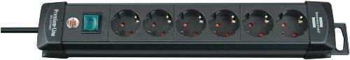 Brennenstuhl Premium-Line, Steckdosenleiste 6-fach (Steckerleiste mit Schalter und 3m Kabel - 45° Winkel der Schutzkontakt-Steckdosen, Made in Germany) schwarz