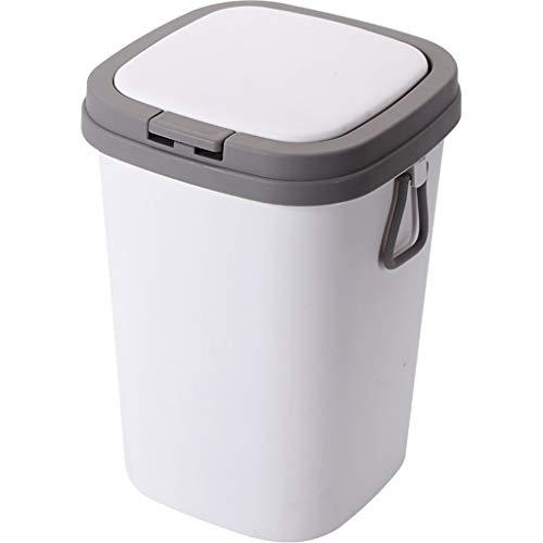 Papelera de plástico tipo empuje con asas selladas en ambos lados y cesta de papel de desecho grande con tapa para el hogar y la cocina (color: blanco, tamaño: L)