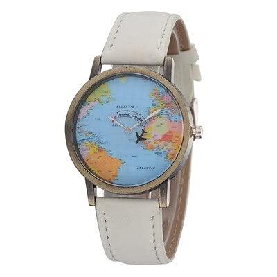 Msltely Relojes de Pulsera 1 unids Ladies Tendencia Relojes de Pulsera Moda Global Viajes en avión Mapa Dial Analog Reloj Mujer Vestido Vestido Reloj de Tela de Mezclilla Banda de Tela Regalo