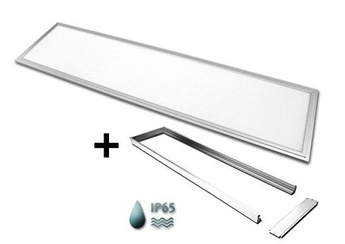 TXL© LED Panel 120x30cm 40 Watt wasserdicht IP65 silberoxid auch für Außenbereich (Neutralweiß 4000K, Mit Aufputzrahmen)