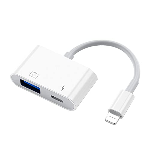 MeloAudio Adaptador de cámara USB con puerto de carga, cable USB hembra OTG compatible con iOS9.2-13, compatible con USB Flash Drive Mouse MIDI Keyboard Electric Piano Drum de audio, Plug & Play