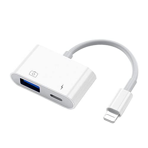 MeloAudio Adattatore USB per fotocamera con porta di ricarica, cavo USB femmina OTG compatibile con iOS9.2-13, supporta USB Flash Drive Mouse MIDI Piano interfaccia audio, Plug & Play