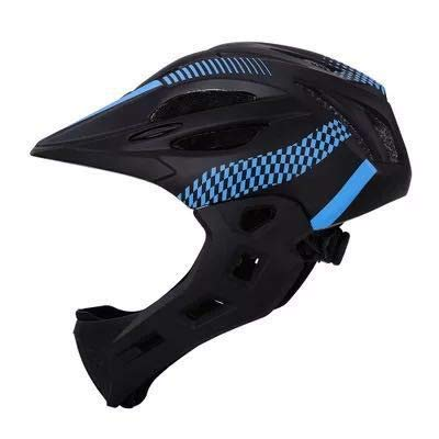 Gvqng Casco Integral Bicicleta, Luz Trasera LED EnvíO, 16 Orificios VentilacióN Transpirables, Ajustable para NiñOs, Talla úNica,Black Blue