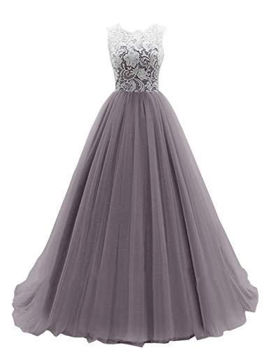 SongSurpriseMall Ballkleider Abendkleider Lang Hochzeitskleider Damen Brautkleid Spitze Tüll Schleppe Grau 32