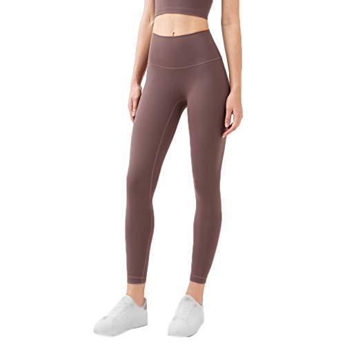 LICHUXIN Yoga Stretch Hose Sporthose Lang Sport Leggins Hohe Taille Stretch-Hose Laufhose Hohe Taille Sportstrumpfhosen für Laufende Sport-Gamaschen (Color : Brown, Size : Medium)