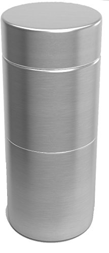 Herb Stash Jar 1 Solid Aluminum Airtight Smell Proof Containers #1 Best Way To Preserve Herbs & Spices (Perfect Single, Silver) (Best Way To Stash Weed)