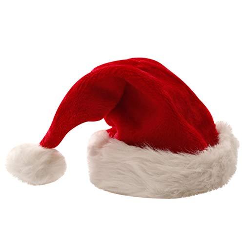WARMWORD Gorro navideño de Santa Grosor Corto de Felpa Gorro de Navidad Grosor Alargado de Gorro de Navidad de...