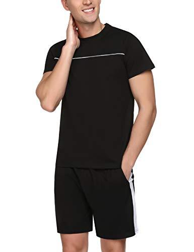 Doaraha Conjunto de Pijamas para Hombres Verano Ropa de Dormir de 100% Algodón Pijamas Corto de 2 Piezas de Manga Corta Suave Comodo