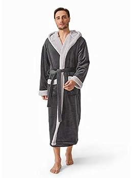 DAVID ARCHY Men s Hooded Fleece Double Layer Bonded Velvet Robe Plush Soft Full Length Long Bathrobe  M Dark Gray