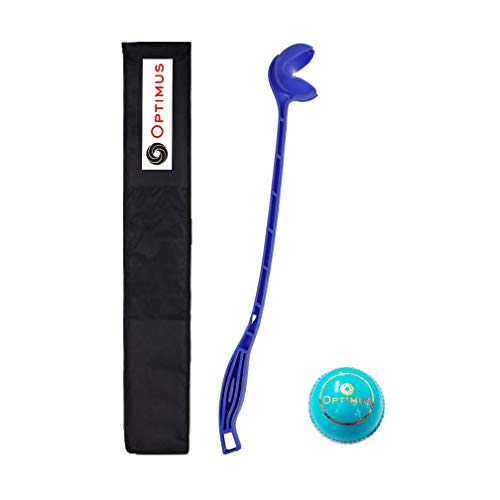 Optimus® Full Size Sidearm Cricket Ball Thrower Holder Stick with Heavy Tetron Cover & 1 Optimus® Cricket Leather Ball