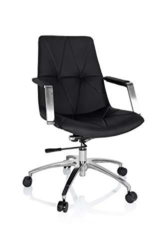 hjh OFFICE 661004 Drehstuhl SARANTO Leder Schwarz Schreibtischsessel im Retro-Look mit Rollen, höhenverstellbar