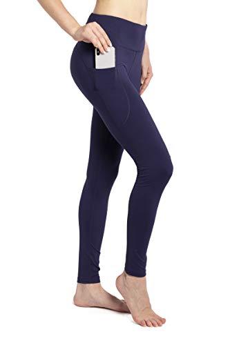 GEVJON High Waist Yoga Pants with Pockets, Tummy Control Yoga Leggings, Non See-Through 4 Way Stretch Workout Running Tights (Navy, M)
