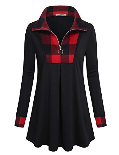 Timeson Long Tunic Tops To Wear With Legging,Swing Winter Sweater Plus Size Ladies Plaid Thick Ugly Christmas Sweatshirt Long Sleeve Zip Down Flare Dressy Shirts Loose Cotton V Neck Maternity Tops
