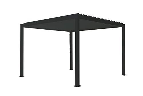 SORARA Mirador Deluxe Gazebo 3 x 3 m Waterproof Pergola with Slat Roof Aluminium Patio Canopy Black