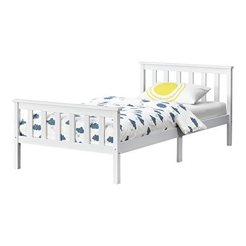 [en.casa] Holzbett mit hohem Kopfteil und Lattenrost 120x200 cm Einzelbett Jugendbett Bettgestell Kiefernholz Weiß