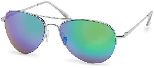 styleBREAKER Sonnenbrille verspiegelt, Pilotenbrille getönt mit Federscharnier, Unisex 09020037, Farbe:Gestell Halbrand Silber/Glas Grün