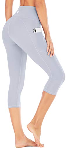 IUGA High Waisted Yoga Pants for Women with Pockets Capri Leggings for Women Workout Leggings for Women Yoga Capris Light Gray