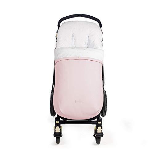 Pasito a Pasito. Saco Silla María de polipiel y uso universal para el invierno. Funda cubre silla de paseo, cochecito, bugaboo. Cubierta Protectora y Saco doble relleno extraíble. Color Rosa.