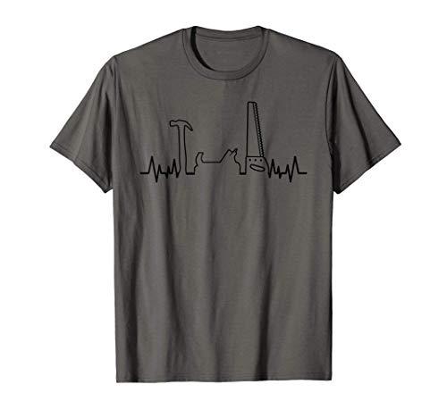 Holzarbeiter Werkzeuge Herzschlag Zimmermann Tischler T-Shirt