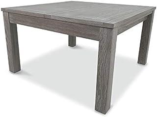 Tousmesmeubles Table de Repas carrée à allonge Bois Massif - Gabriel - L 130/185 x l 130 x H 75 - Neuf