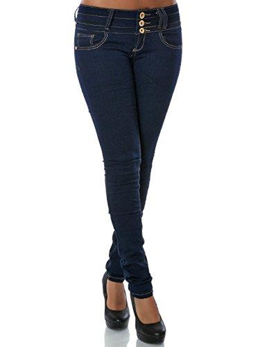 Daleus Damen Jeans Hose Skinny (Röhre weitere Farben) No 14084, Blau, 36