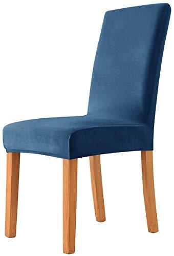 Morwealth Fundas elásticas para sillas, de Velvet, universales, elásticas, extraíbles, lavables, elásticas, para comedor, decoración de bodas, fiestas, banquetes (azul oscuro, 4)