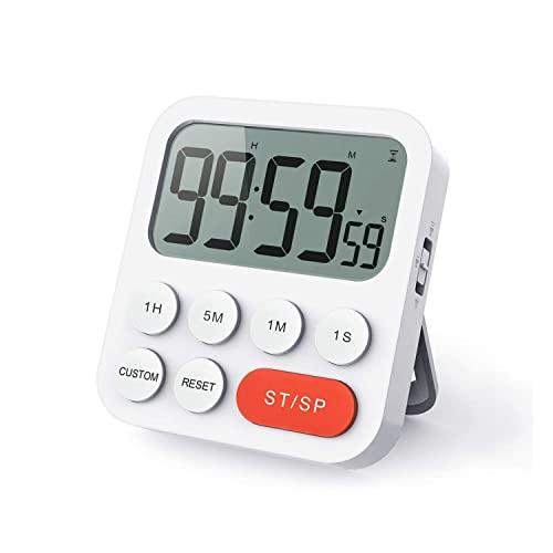 LIORQUE Digitale Timer da Cucina, Timer Multifunzione con Funzione Orologio, Regolazione Rapida, 3 Livelli di Volume, Schienale Magnetico, Supporto Pieghevole (2 Batterie AAA Incluse)