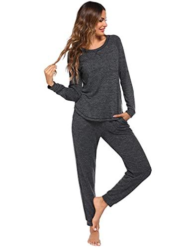 ADOME Schlafanzug Damen Lang Winter Pyjama Set Zweiteiliger Langarm Nachtwäsche Hausanzug mit elastischem Bund und Manschetten Hose Frauen dunkelgrau XL