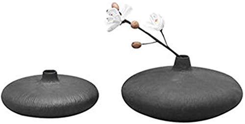 Vase Tumba de cerámica para arreglo de flores, flores secas hidropónicas, color negro, 2 piezas