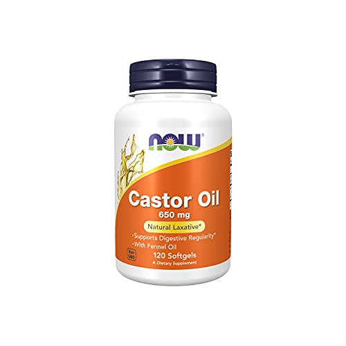 NOW Supplements, Castor Oil 650 mg with Fennel Oil, Natural Laxative*, 120 Softgels