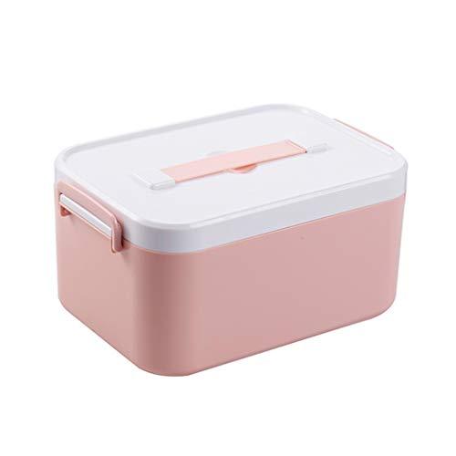 Jinxin-schmuckschatulle Family Plastic Medicine Box, Erste-Hilfe-Set für den Haushalt, Erste-Hilfe-Aufbewahrungsbox (Farbe : Rosa, größe : 28.5 * 19.5 * 14CM)