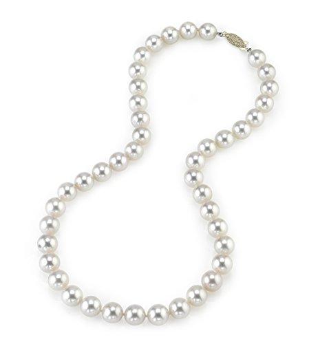 14 K oro, 9 0-9, 5 millimeter Akoya japonés cultivadas blancas collar de perlas de calidad AAA -, 45,72 cm de longitud de la princesa