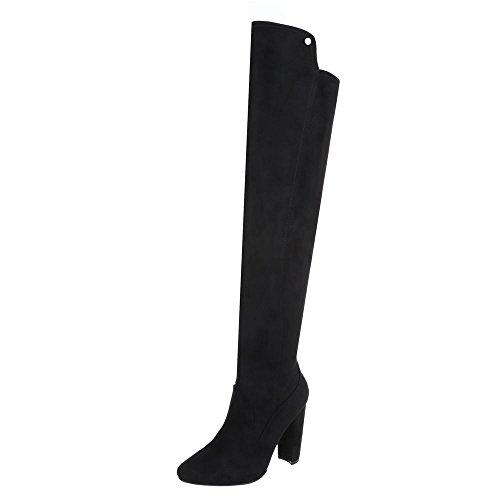 Overknees Damen-Schuhe Klassischer Stiefel Pump High Heels Reißverschluss Ital-Design Stiefel Schwarz, Gr 36, E22103-