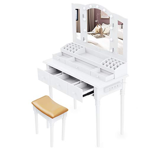 Dressing Table,Vanity Set Multifunctional Makeup Table with Stool Large Storage Vanity with Big Mirror Waterproof LED Light Bulbs and A Socket (White)
