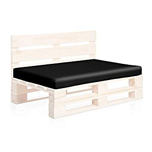 SUENOSZZZ-ESPECIALISTAS DEL DESCANSO Colchoneta Asiento para Sofas de palets, cojin Chill out Relleno con Espuma y enfundado en Polipiel Color Negro