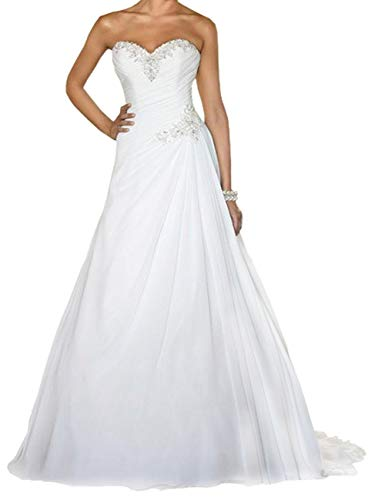 Brautkleider Hochzeitskleider Vintage Lang Prinzessin Standesamt A-Linie Brautmode mit Schnürung Weiß 46