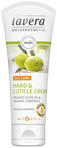 lavera Crème 2 en 1 pour les mains et les cuticules - Absorbe instantanément l'huile d'olive et la camomille - Végétalien - Soin de la peau bio - Cosmétiques naturels et innovants - 75 ml
