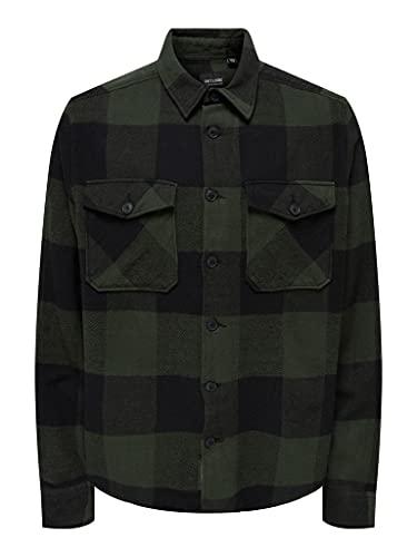 ONLY & SONS Herren ONSMILO Life LS Check Overshirt NOOS Hemd, Forest Night, XL
