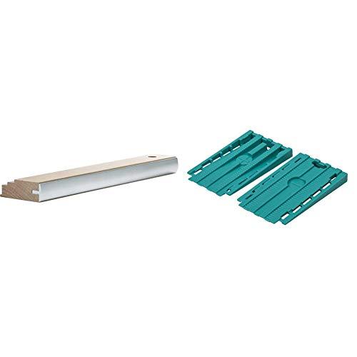 Wolfcraft 6947000 (L) taco de madera Profi, fabricación duradera gracias a la barra de protección de aluminio PACK 1, beige + 6946000 Pack de 30 cuñas separadoras universales para suelo, turquesa