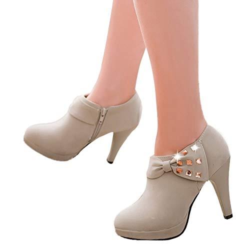 Rcool Zapatos de tacón zapatos de tacón alto mujer zapatos de tacón transparentes,Botines de tacón alto con plataforma botines con cremallera de gamuza de strass
