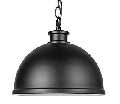 "Amazon Brand – Stone & Beam Contemporary Metal Outdoor Pendant Light, 10""H, Matte Black"