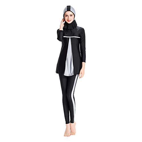 Lazzboy Frauen Muslimischen Badeanzug Mit Cap Printing Beachwear Bademode Muslimische Damen, Hijab-Schwimmanzug, Badeanzug, Sportkleidung(Grau,M)