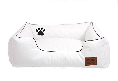 Golden Dog Hundebett Hundesofa Hundekissen Abnehmbarer Bezug, Pflegeleicht, abwaschbar Steppy Weiß M 80x65cm