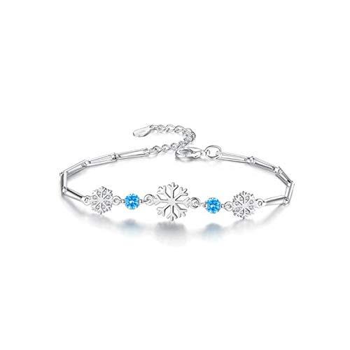 DiaTech Einzigartige Entwurfs-925 Sterlingsilber-Thin-Herz-Kettenarmband mit glänzendem Schneeflocke für Frauen-Mädchen-Dame-Party,Blau