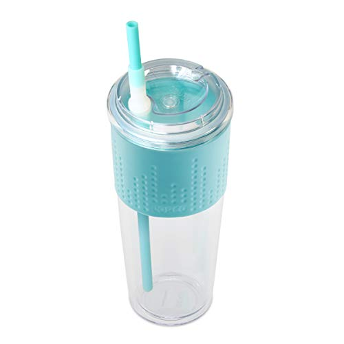 Copco Lock-n-Roll Double Wall Tritian Spill-Proof Tumbler with Soft Grip Sleeve and Patented Flip Up Straw, 20-Ounce, Teal