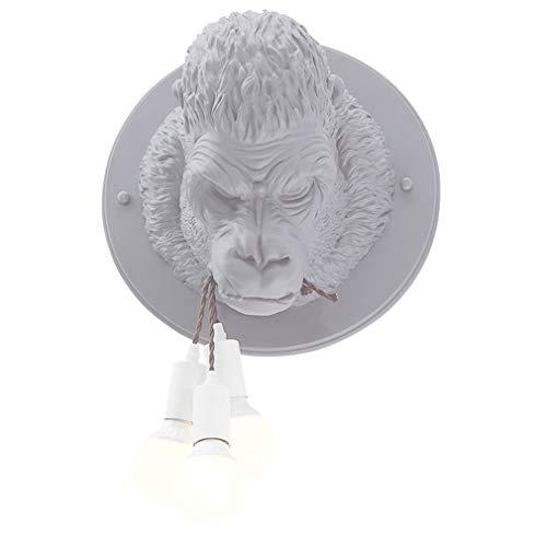 OMGPFR wandlamp, aap, kunsthars, oranje-Utan, wandlamp, bedlamp, retro, vintage, industrieel licht voor slaapkamer, woonkamer, bar, café, wandlamp, E27, lamp