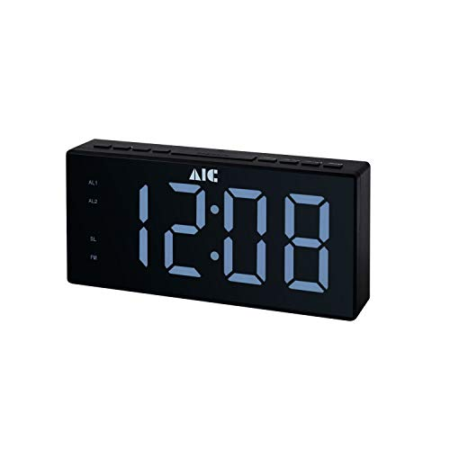 AIC Radiowecker mit gut ablesbarem XXL Display dimmbar 2 Weckzeiten 48 schwarz
