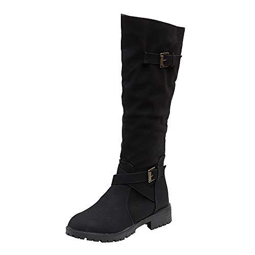 Alwayswin Damen Langschaftstiefel Zip Punk Military Combat Boots Kniehohe Wadenbikerstiefel Vintage Klassische Stiefel Flache Winterstiefel Hohe Stiefel Lange Stiefel