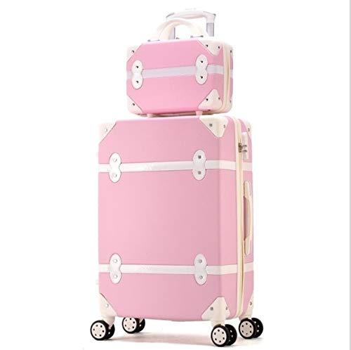 Mdsfe Set di valigie rigide da Donna retrò con Ruote Trolley Bagaglio con Borsa per Cosmetici Valigia Vintage per Ragazze - Un Set, 20
